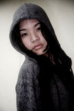 Asian girl wearing a hood jacket Stock Photography