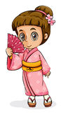 An Asian girl wearing a kimono Stock Photo