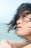 Asian girl with wet hair Stock Photos