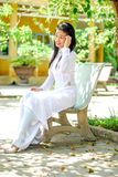 Asian girl in white dress Royalty Free Stock Photos