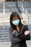 Asian girl who is sick and wearing mask Stock Photos