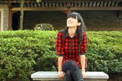 An asian girl who is waiting Royalty Free Stock Images