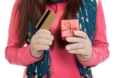 Asian girl with winter dress,credit card and gift box Royalty Free Stock Photo