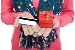 Asian girl with winter dress,credit card and gift box Stock Photo