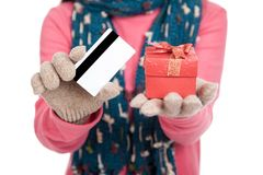 Asian girl with winter dress,credit card and gift box Royalty Free Stock Image