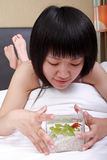 Asian Girl With Her Goldfish Royalty Free Stock Photography