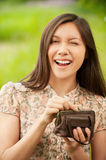 Asian Girl With Purse Stock Images