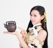 Asian girl woman model holding a cup of tea Stock Images