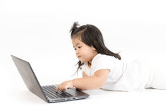 Asian girl working on computer Stock Photo