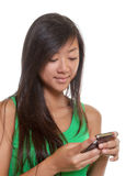 Asian girl writing a message Royalty Free Stock Photos