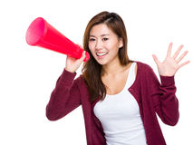 Asian girl yell with megaphone Stock Photography