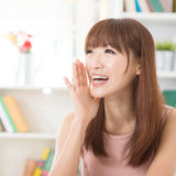 Asian girl yelling Royalty Free Stock Images