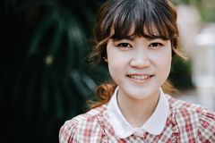Asian Girl young teen hipster closeup head happy smile royalty free stock photos