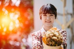 Asian Girl young teen hipster closeup head happy smile. Vintage colortone Royalty Free Stock Photography