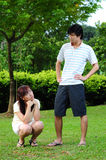 Asian Girlfriend tired of waiting Stock Photo