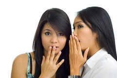 Asian girlfriends gossip. Two young asian girlfriends gossip, isolated on white royalty free stock photos