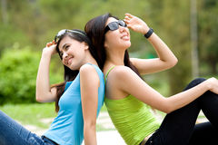 Asian girls friend with sun glasses Royalty Free Stock Photos