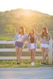 Asian Girls Hanging Out In Park Together Royalty Free Stock Image