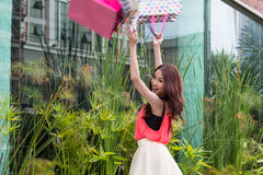 Asian girls are happy to be shopping. Stock Image