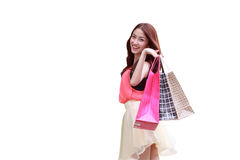 Asian girls are happy to be shopping. Stock Images