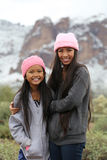 Asian Girls Outdoors. At Superstition Mountains Arizona with snow Stock Images