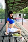 Asian girls playing tennis royalty free stock photos