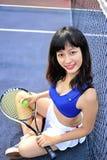 Asian girls playing tennis royalty free stock image
