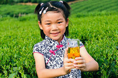 Asian girls show green tea Royalty Free Stock Photos