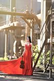 Asian girls show their beauty in abandoned factories royalty free stock photography