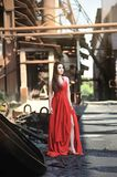 Asian girls show their beauty in abandoned factories stock image