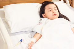 Asian girls sick in the hospital. Asian girls sick in the hospital use to background concept stock photo