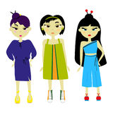 Asian girls. Three Asian  girls. Other costumes. Different hairstyles Royalty Free Stock Photography