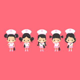 Asian Girls Uniform. Illustration of cute little girls in pink sailor uniforms ready to go to school Stock Image