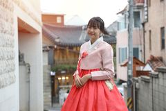Asian girls wearing hanbok Which is a Korean national dress stock image