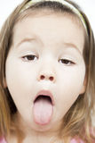 Asian girls who grimaces Stock Images