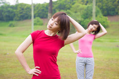 Asian girls workout outdoor royalty free stock photo