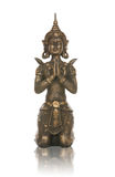 Asian Goddess Statue. An ancient asian goddess statue over white royalty free stock photography
