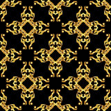 Asian golden pattern on black Royalty Free Stock Photos