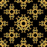 Asian golden pattern on black Royalty Free Stock Photography