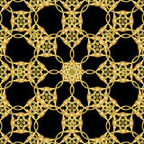 Asian golden pattern on black Royalty Free Stock Images