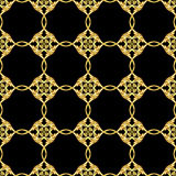 Asian golden pattern on black Royalty Free Stock Photo
