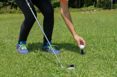 Asian golf girl put golf on tee in green golf course. In sunny day Stock Photos