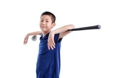Asian Golfer boy on white. Royalty Free Stock Photo