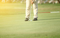 Asian golfers hit sweeping and keep golf course in the summer fo. R relax time,soft focus and blurry Stock Photography