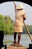 Asian gondolier on gondola or raft rides on river royalty free stock image