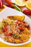 Asian gourmet chicken with rice and fried orange Stock Images