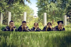 Asian Graduation group. Happy group of students in their graduation smiling Royalty Free Stock Photography
