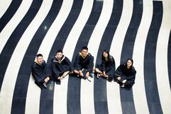 Asian Graduation group 2. Happy group of students in their graduation smiling Royalty Free Stock Image