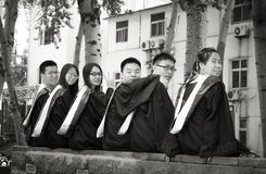 Asian Graduation group 3. Happy group of students in their graduation smiling Stock Photo