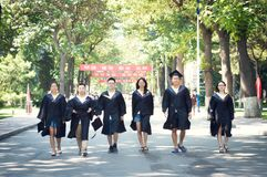 Asian Graduation group 5. Happy group of students in their graduation smiling stock photo